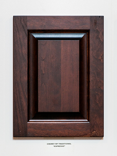 A cherry kitchen cabinet door, in the Espresso finish